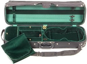 Bobelock Hill Style 1017 Semi-French Fitted Black/Green 4/4 Violin Case